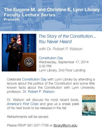 Library Constitution Day Lecture Dr. Watson