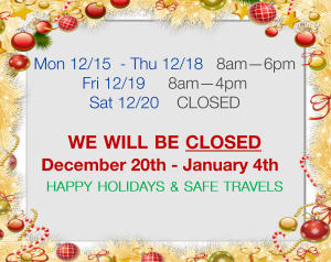 Holiday Hours Dec.-Jan