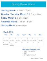 Spring Break 2015 Hours