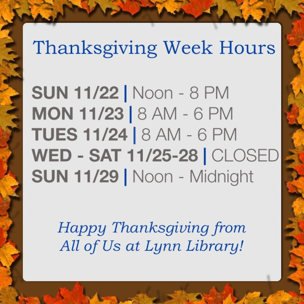Thanksgiving Week Hours 2015